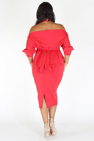 Plus Size Glow Up Off Shoulder Waist Tie Peplum Dress [PRE-ORDER 25% OFF]