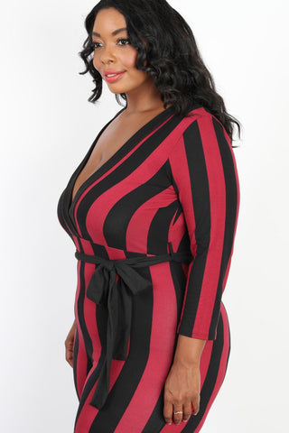 f3b2c17f64e ... Plus Size Downtown Chic Stripe Belted Jumpsuit