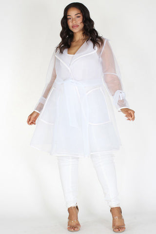 Plus Size Elegant Sheer High Fashion Wrap Tie Coat
