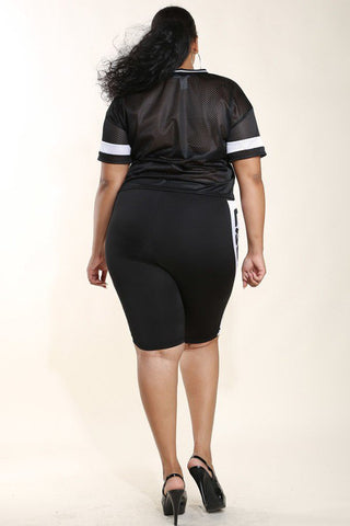 Plus Size New Football Mesh Foil Rib Shorts Dress