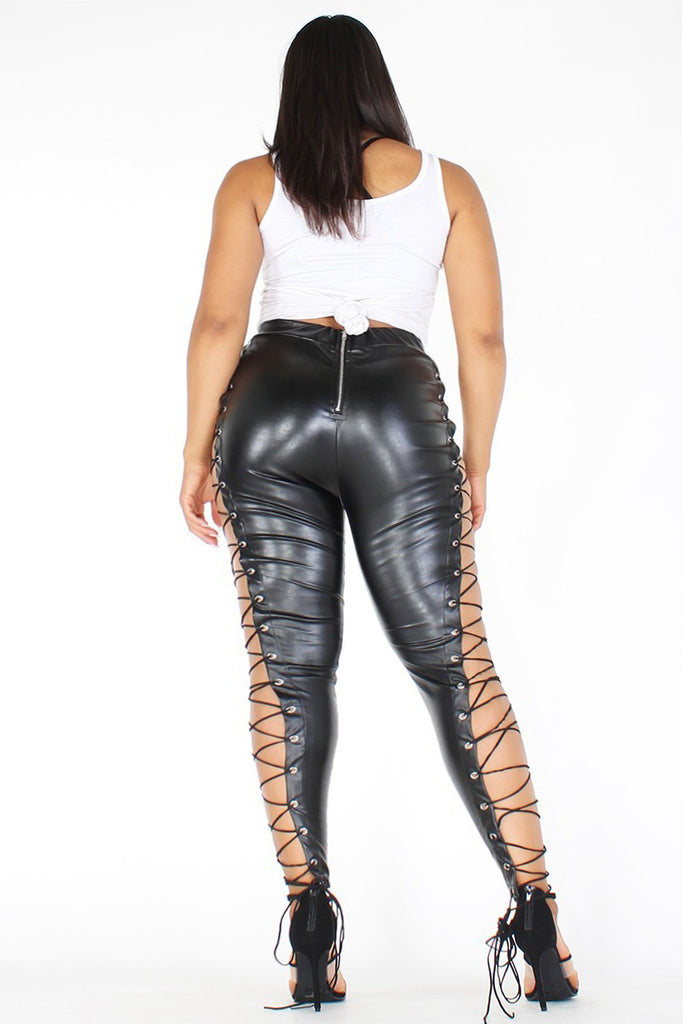 8145f19cdb4115 Plus Size Faux Leather Lace Up Side Cut Out High Waist Leggings ...