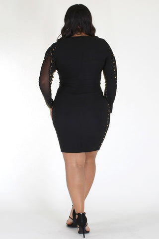 Plus Size Sexy Button Detail Mesh Sides Cocktail Dress [PRE-ORDER 25% OFF]