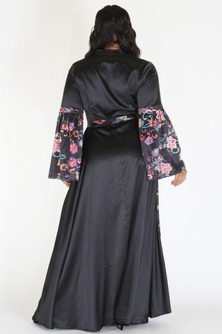 Plus Size Satin Queen Floral Embroidery Wrap Maxi Dress