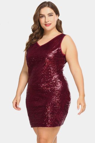 Plus Size Sparkling Sequin Sleeveless Cocktail Dress