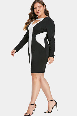 Plus Size Color Block Keyhole Bodycon Club Dress