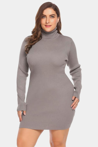 Plus Size Cozy Diva Sweater Bodycon Turtleneck Dress