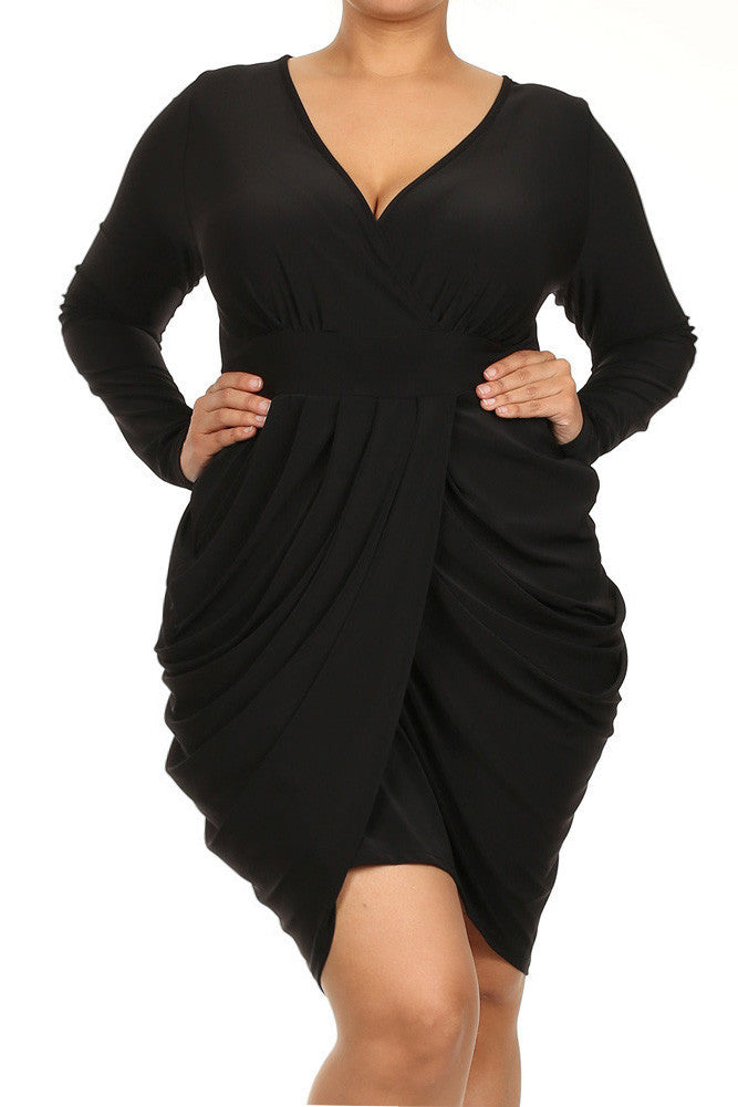 Plus Size Long Sleeve V Neck Bubble Black Dress