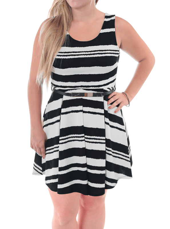 Plus Size Striped Gold Buckle Skater Dress