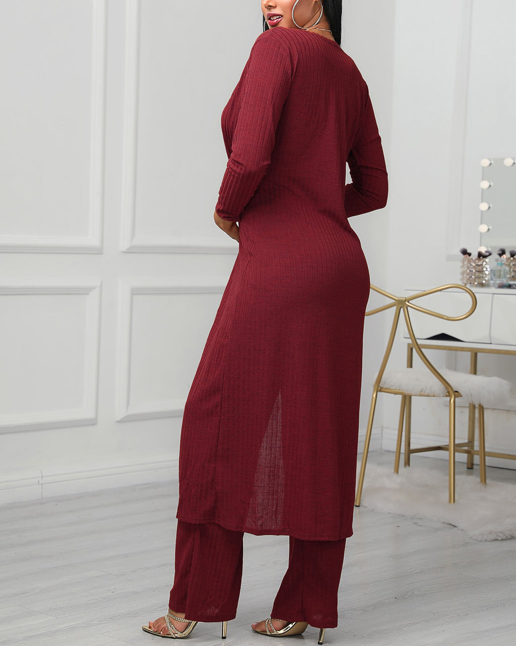 Plus Size Solid Ribbed Tank & Longline Coat & Wide Leg Pants Sets
