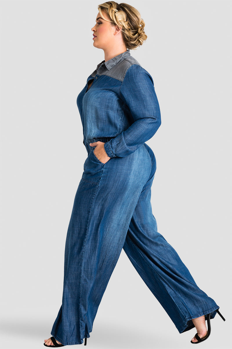 Plus Size Kira Contrast Shoulder Indigo Tencel Jumpsuit
