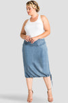 Alexa Light Wash Indigo Tencel Drawstring Hem Skirt - SP Plus