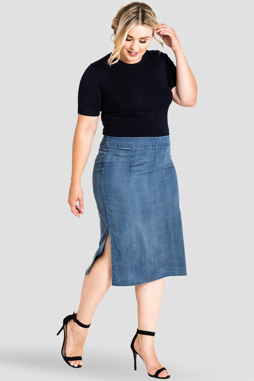 Plus Size Jade Knee Length High-Waist Tencel Pencil Skirt
