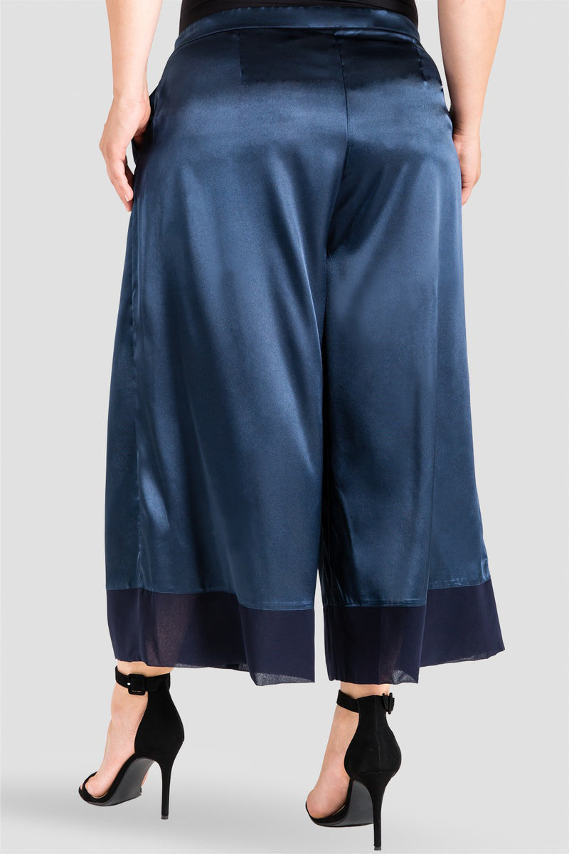 Plus Size Morgan Midnight Blue Sateen And Chiffon Block Aline Crop Pants