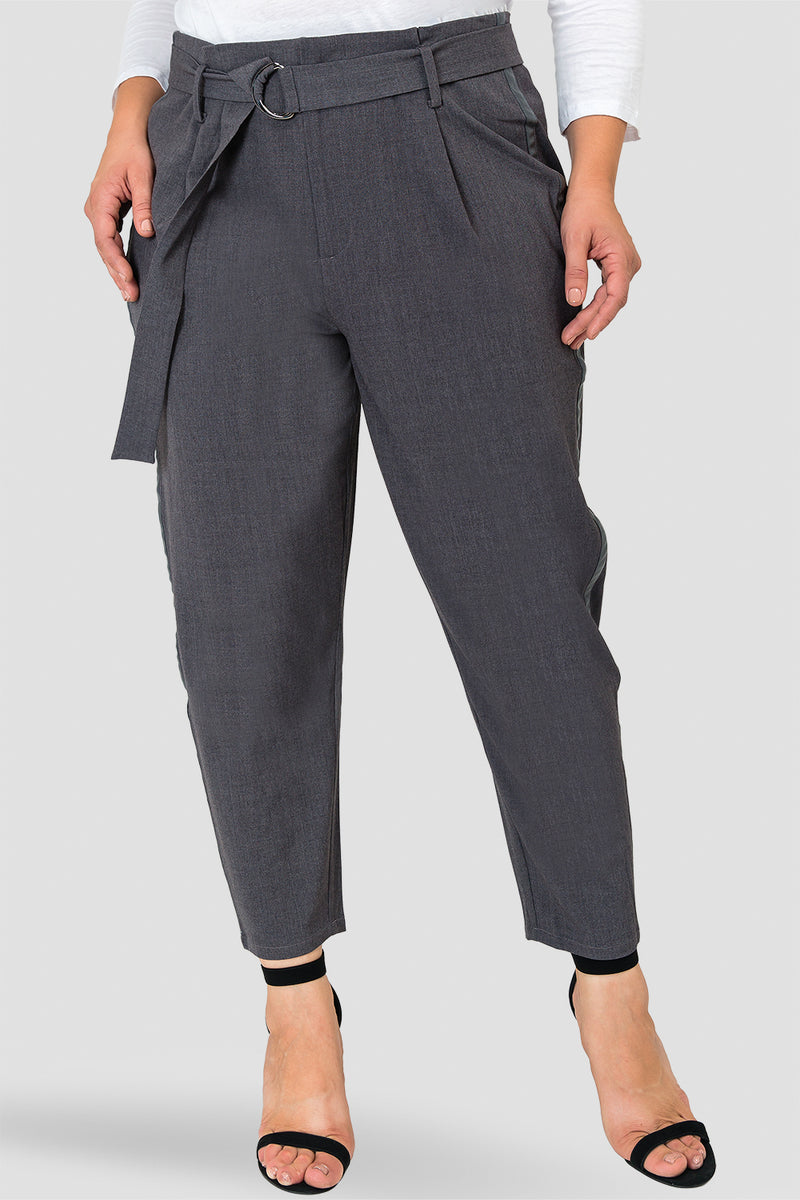 Plus Size Marina Charcoal Gray Paper Bag Waist Suiting Pants - Vegan Leather Athletic Stripe