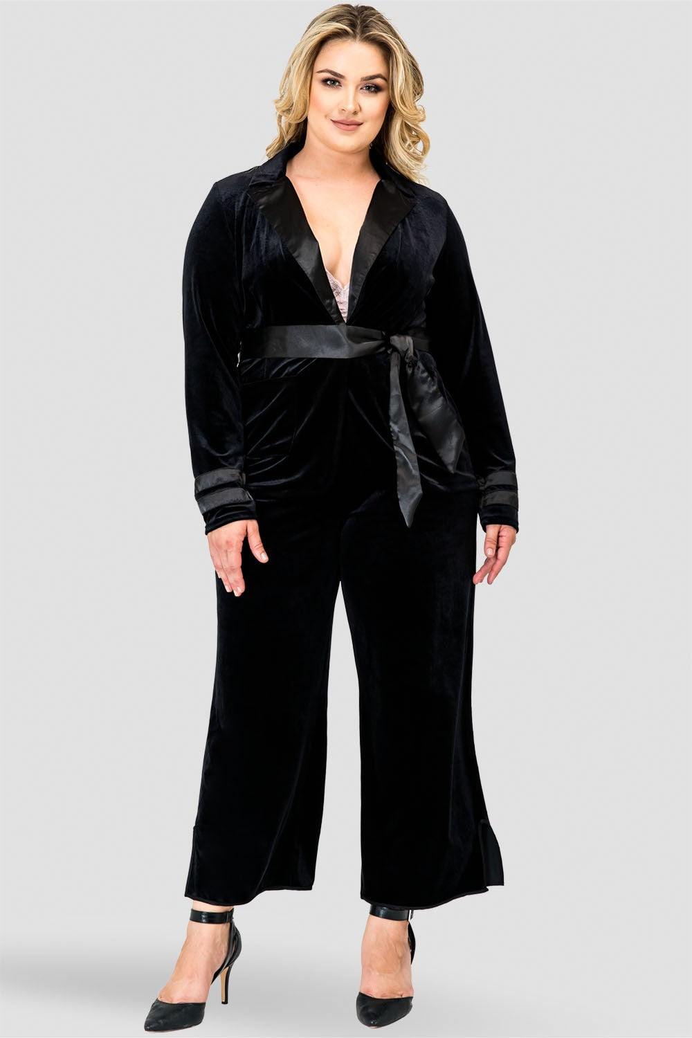 Plus Size Libby Stretch Velvet Crop Wide Leg Pant With Slash Pkt And Side Vent