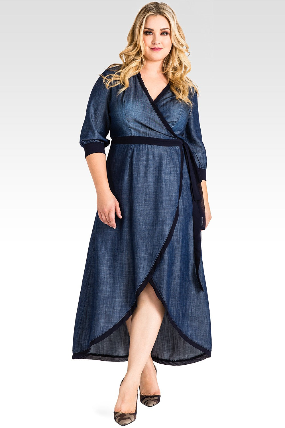 Plus Size Elle Tencel Denim Wrap Maxi Dress