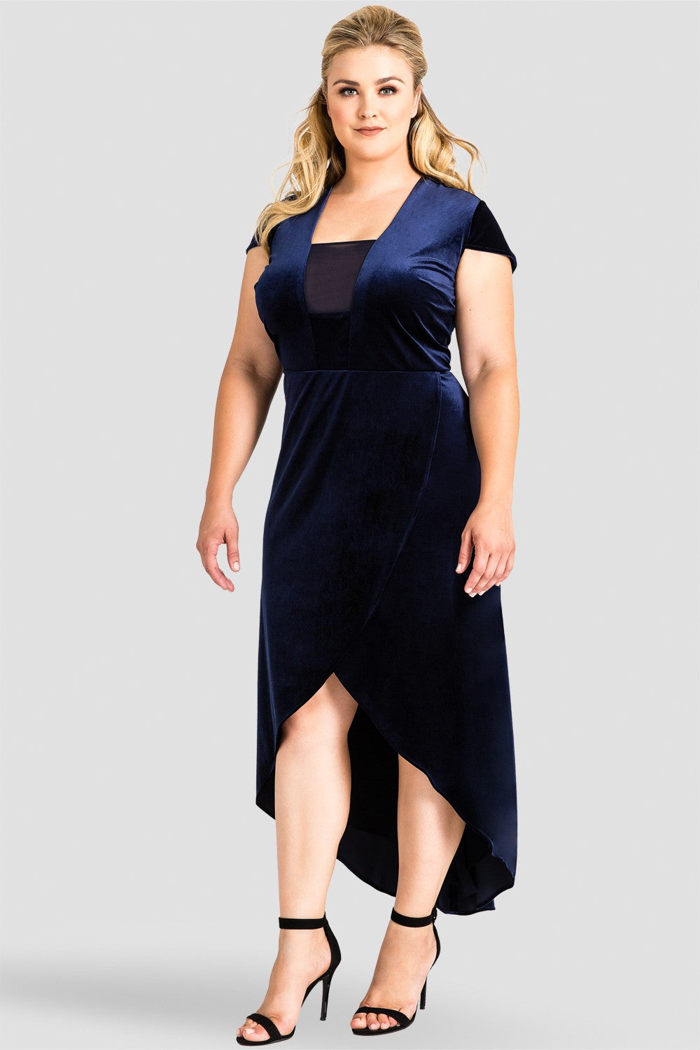 Plus Size Luna Plunging Neck Velvet High-Low Tulip Dress - Midnight Blue