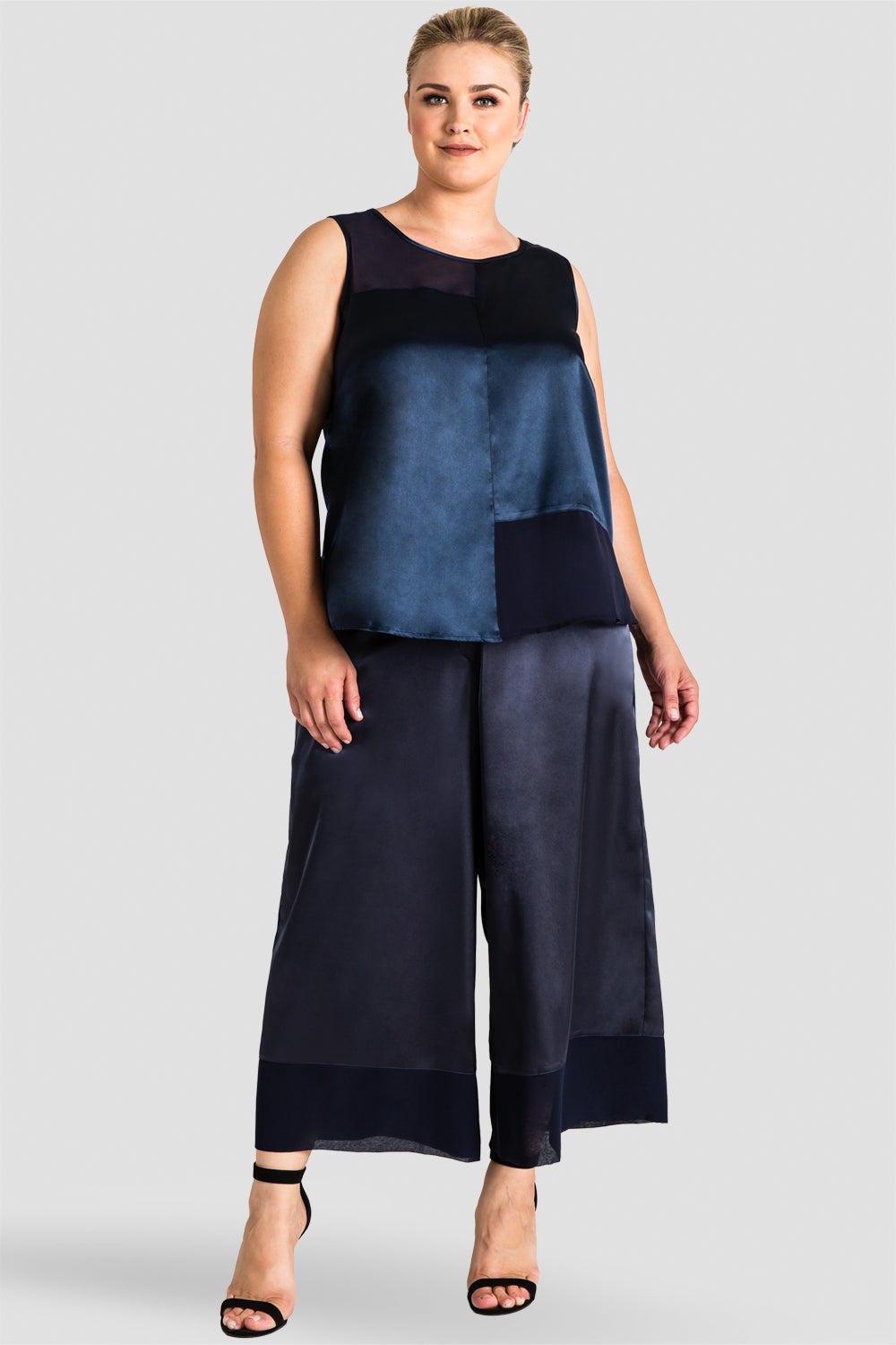 Plus Size Jenny Midnight Blue Sateen And Chiffon Block Sleeveless Top