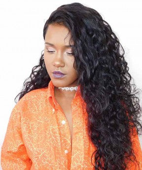 Loose Curly 360 Lace Frontal Human Hair Wigs For Black