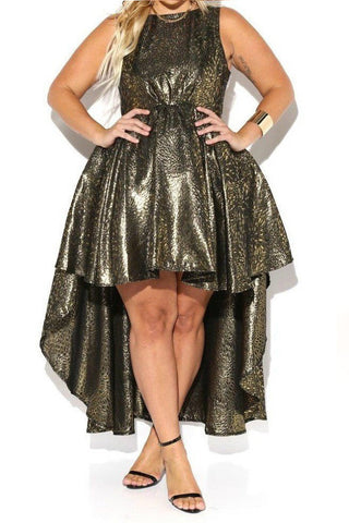 Ball Room Flare Metallic Hi-Lo Plus Size Dress