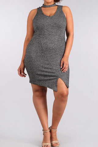 Hot Choker Shimmering Plus Size Dress