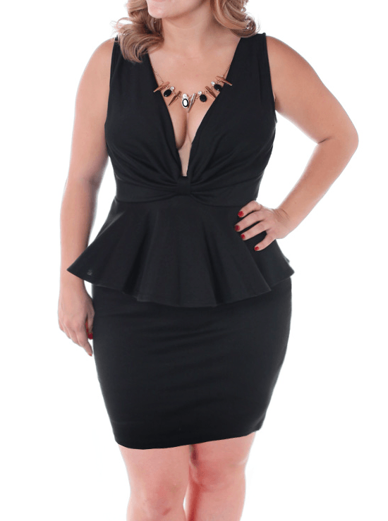 Plus Size Sweet Bow Peplum Black Glam Dress