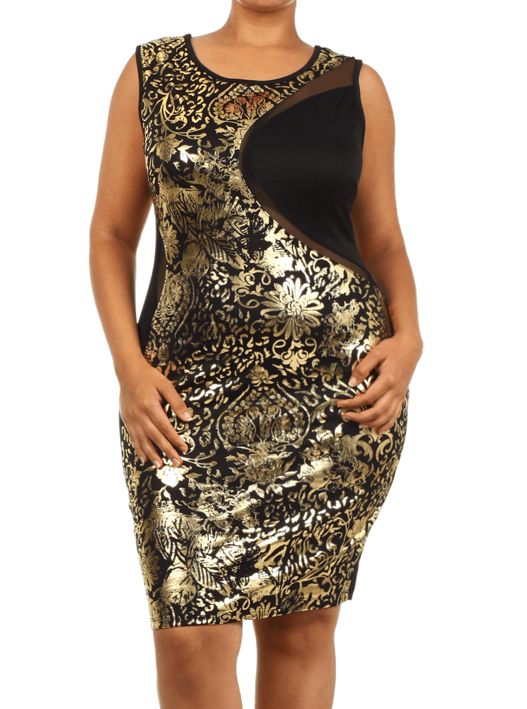 Plus Size Stunning Floral Foil Print Bodycon Dress