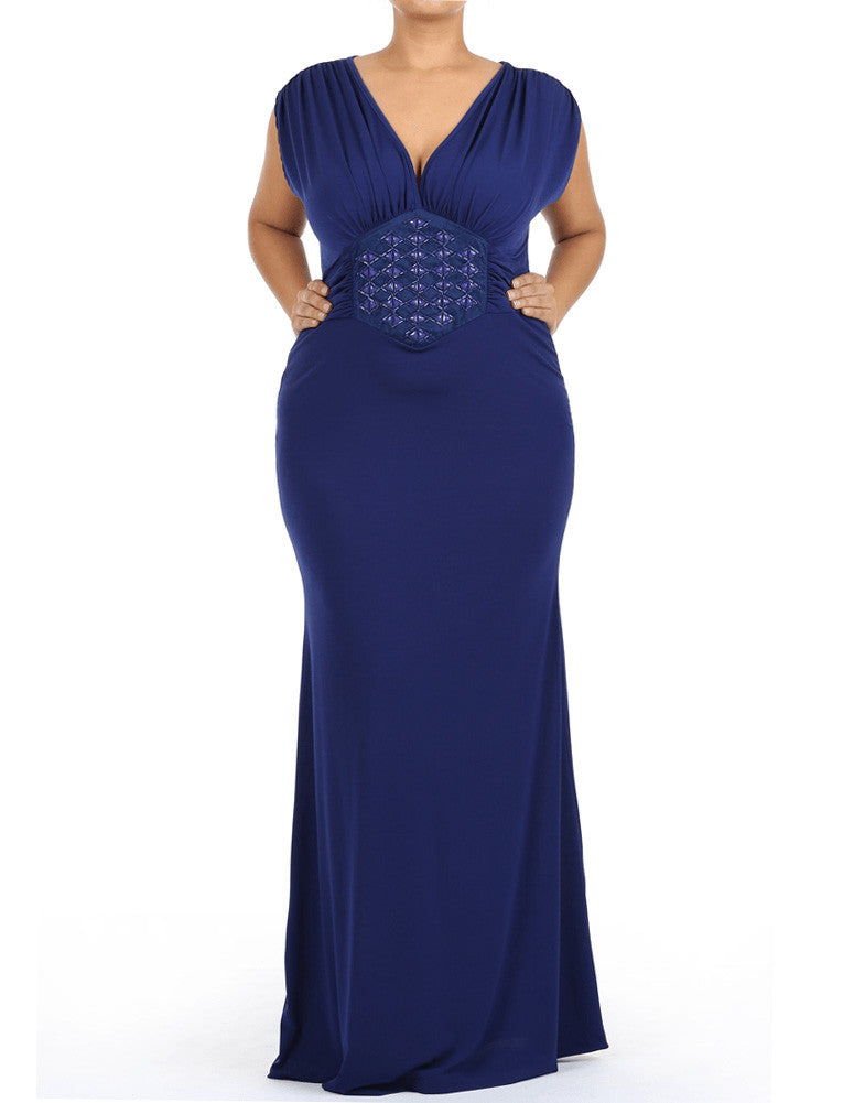Plus Size Beaded Midriff Maxi Navy Blue Dress