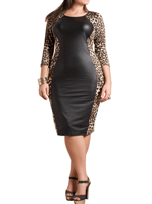 Plus Size Leather Panel Leopard Midi Dress