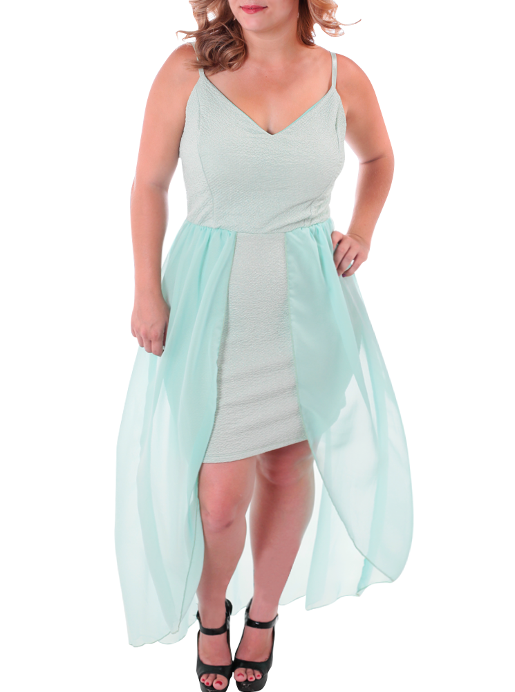Plus Size Sheer Sweetheart Dip Hem Mint Dress