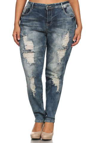 Plus Size Distressed Front Denim Faded Jeans [SALE]