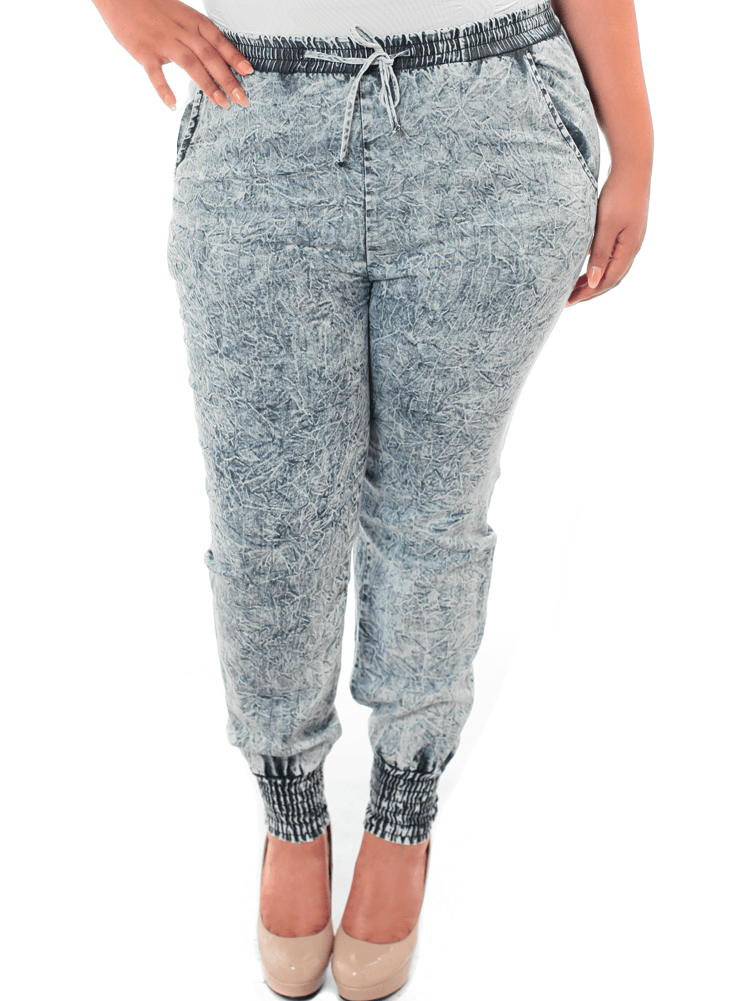 Plus Size Acid Wash Denim Jogger Pants