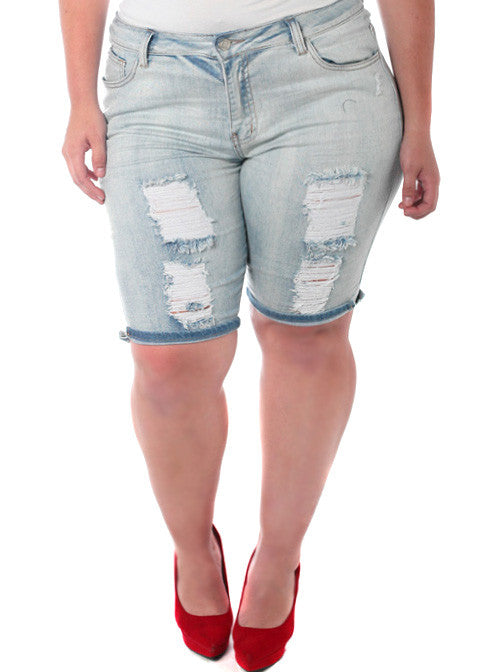 Plus Size Stretchy Bermuda Light Denim Shorts