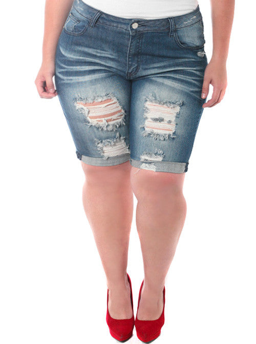 Plus Size Stretchy Bermuda Dark Denim Shorts