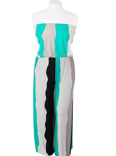 Plus Size Stylish Tube Teal Jumpsuit
