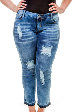 Plus Size Acid Wash Ripped Denim Pants