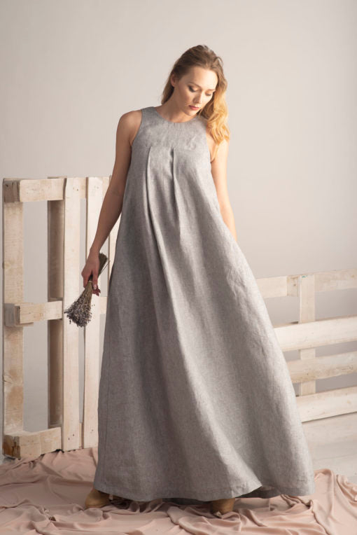 Plus Size Linen Maxi Dress