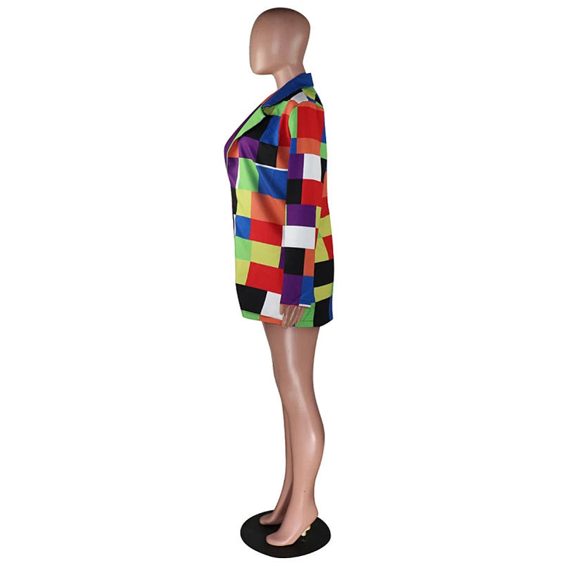 Plus Size Colorful Colorblock Blazer Long Sleeve Jacket Top