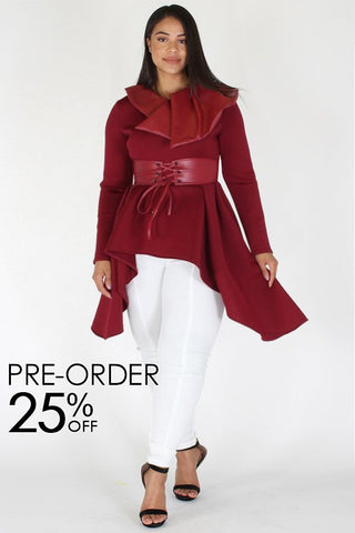Plus Size Showstopper Belted Designer Peplum Top [PRE-ORDER 25% OFF]