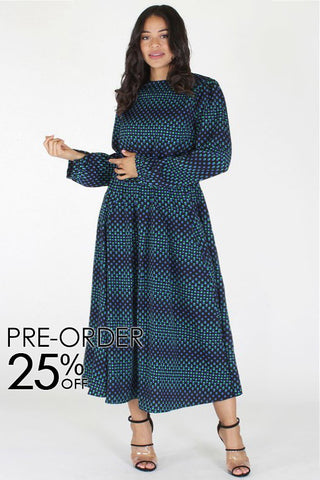Plus Size Flowing Pattern Long Sleeve Maxi Dress [PRE-ORDER 25% OFF]