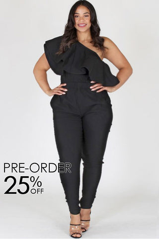 Plus Size One Shoulder Pocketed Flounce Jumpsuit [PRE-ORDER 25% OFF]
