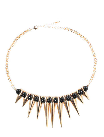 Beaded Spiked Pebble Necklace Black