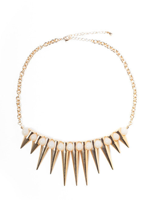 Beaded Spiked Pebble Necklace White
