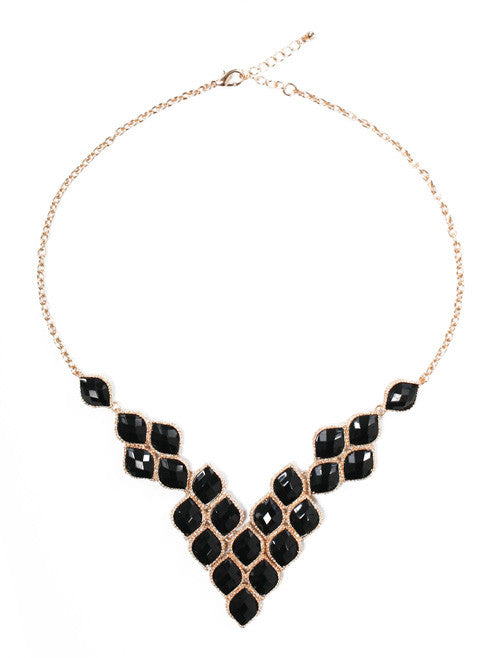 Black Gemstone Gold Necklace