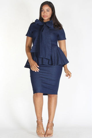 Plus Size Denim Bow Front Peplum Short Sleeve Dress