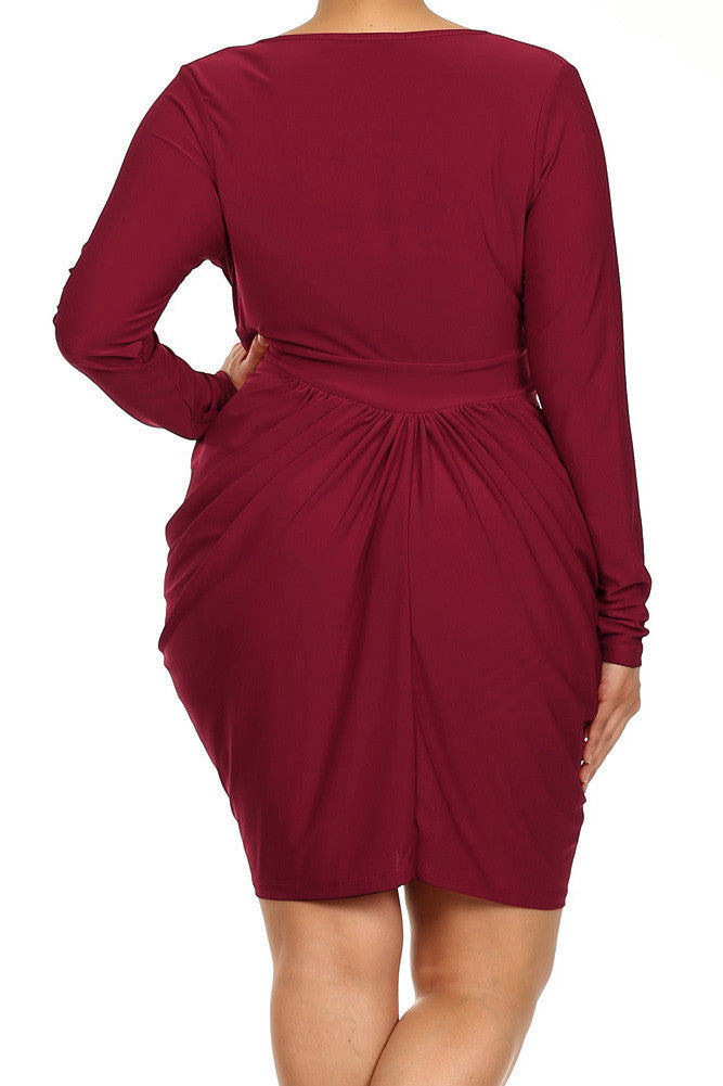 Plus Size Long Sleeve V Neck Bubble Burgundy Dress