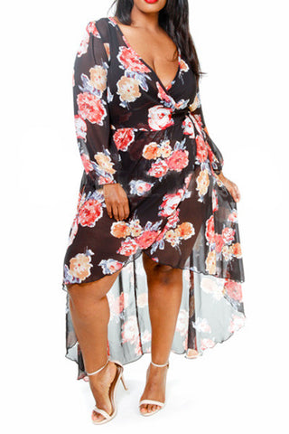 Plus Size Sexy Floral Sheer Wrap Dress