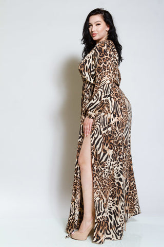 Plus Size Leopard Double Slit Sexy Surplice Maxi Dress