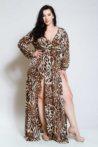 2951e4caaf34cb Plus Size Leopard Double Slit Sexy Surplice Maxi Dress  SALE  ...