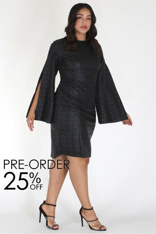 Plus Size Elegant Print Cape Sleeve Cocktail Dress [PRE-ORDER 25% OFF]